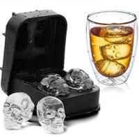 Hot Home Ice Cube Tray 3D Череп силиконовые формы 4-Cavity DIY Ice Maker для домашнего использования Охладить Виски Вино Кухонные инструменты Пудинг Мороженое Mold
