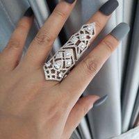 venda com desconto Europa moda pedra zircão duas peças que liga longo designer de anel de cobre de luxo de jóias festa conjunta para as mulheres