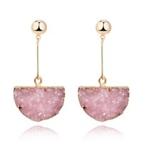 Dangle Kroonluchter 1pair Hars Stone Druzy Earings voor Vrouwen Sieraden Handgemaakte Halfcirkel Drusy Drop Earring Eardrop Long Oorbellen E157