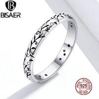 Anillos vendimia vid BISAER 925 anillos de dedo de la flor de la plata esterlina Declaración para la hembra Clasis joyería NUEVA LLEGADA 2020 ECR659