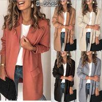Las mujeres capa del juego sólido ocasional de la chaqueta formal de manga larga Collar del mandarín falso abrigo de invierno del otoño de bolsillo Coats Outwear En Stock LSK1252
