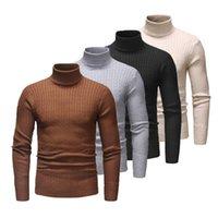 Мужская зима теплая Solid Color Base рубашка Термическая Высокий воротник водолазки Мода свитер Stretch высокого качества Пуловер