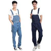 Mens Denim Комбинезоны Street Style мужской моды Комбинезоны комбинезон Большой размер Брюки прямые голубые джинсы для мужчин