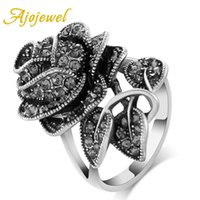 Cluster Rings Ajojewel Merk Grootte 7-9 Antieke Sieraden Zwart Crystal Rhinestone Big Rose Flower for Women Romantic Vintage Bijoux