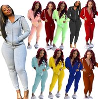 Women Tracksuit Two Pieces Set Long Sleeve Hooded Zipper Car...