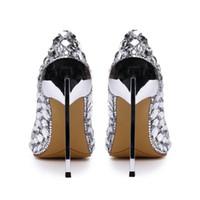 Genuine leather luxury designer rhinestone wedding shoes pointed 12cm high-heeled silver bridal dress shoes with box