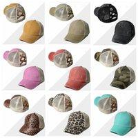 Ponytail Ball Caps Cross Criss моющаяся шариковая крышка Летнее леопардовое печать Net Hat Unisex Sunshade Visor Cap Only Snapbacks Caps HHD1516
