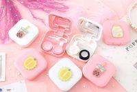 2020 Cute Girl Frutta delle lenti del contatto di sicurezza con lo specchio Donne Mini Lens quadrati Eyes Contatto Contenitore Box Bag Kit da viaggio
