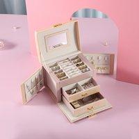 2020 Большой Кожа PU Jewelry Box хранение Организатор ящик серьга кольцо случай ожерелье Ларец для ювелирных изделий Девочки Ювелирной Box T200917