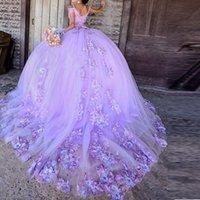 15 años de Lavanta Prenses Quinceanera Gelinlik Modelleri Dantel Applqiues Sweet 16 Giydirme Mahkemesi Tren vestidos