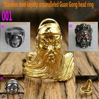 Cluster Rings Mäns Rostfritt stål Ring Buddha Guan Gong Avatar Buddhist Stora Weide