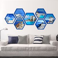 6-10 Inch Nordic simples Hexagon Photo Frame Multilateral quadro de madeira Sala Imagem Wall Decor Mount Photo Frames Para A