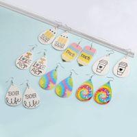 Neue Lehrer PU Leder Ohrring für Frauen Mädchen Niedliche Bedruckte Baumeln Tropfen Ohrringe Oval Waterdrop Ohr Kreative Ohrring Schmuck Geschenk