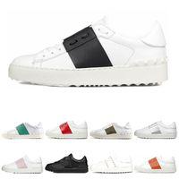 Valentino 2019 Nuevos zapatos de diseñador arrivel Moda de hombre blanco de las mujeres de cuero Casual Open Low zapatillas deportivas Tamaño 35-46 con caja