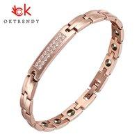 Oktrendy acciaio inossidabile magnetico di lusso Terapia donne del braccialetto braccialetto del magnete di salute con oro di colore bianco con strass