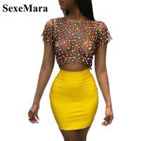 SexeMara Женщины Sexy 2 Piece Set Полька Dot сетки Tshirt Crop Top и юбка Короткие наборы из двух частей клуба Наряды Bodycon платье D34-I76
