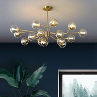 Современные Sputnik люстры освещение Креативный стеклянный шар Branch светильник Bedrpom Nordic Living Room висячие Свет
