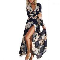 Cuello en V manga larga de los vestidos ocasionales de las señoras de la ropa de primavera y verano para mujer Diseñador Dresss atractiva flora Impreso