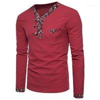 Patchwork T-shirt Hommes Mode Nouveaux vêtements Mens Chinois Style V-Col T-shirts Homme Automne à manches longues