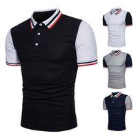 Lässige Polos Hemden Sommer-Streifen-Druck-Designer-T-Stücke drehen unten Kragen Hombres Polo Herren Designer Patchwork