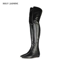 NEW Womens Boots Autumn Winter Internally Raised Knee-high Flat with Stretch Boots Oversize 34-43 Breathable Microfiber Rubber