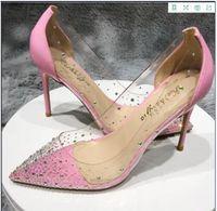 2020 topuk 8 10 12cm artı boyutu 34-45 Kadınlar Temizle Gece Kulübü sole kırmızı Nokta Ayak parmakları Parti Ayakkabı Sandalet Perspex Heel Stilettos Yüksek Topuklu