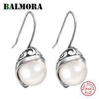 BALMORA 925 Sterling Silver Simulated Pearl Drop Dangle Earrings for Women Lady Gifts Retro Elegant Fashion Jewelry Brincos