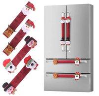 4pcs / set de Navidad puerta del refrigerador las manija de Santa muñeco de nieve de la aplicación de cocina Covers Refrigerador Microondas Horno Lavavajillas manija del protector
