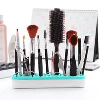 Maquiagem Silicone escova Armazenamento boxs Makeup Brush Holder cremalheira escova prateleira Cosméticos Ferramenta Kit armazenamento caso Organizador GGA3709-3
