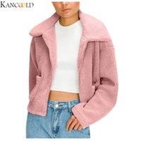 Abrir gran tamaño invierno Frente Oficina de KANCOOL piel paño grueso y suave de las mujeres con capucha Cardigan drapeado Bolsillos la capa S-XL de cuatro colores de tela