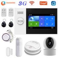 Alarm Sistemleri PG107 3G TUYA Güvenlik Sistemi IP Kamera Ile SmartLife Uygulama Kontrolü Duman Dedektörü WiFi Kablosuz Ev Akıllı Alarmlar Kiti