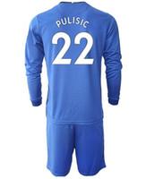 Långärmad anpassad 20-21 Hem Män 7 Kanté 10 Pulisic Soccer Jersey med korta uppsättningar 9 Abraham 22 ZiYech 29 Havertz Fotboll Uniform Set