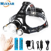 ZK25 dropshipping 4 Modes Motion IR Sensor 3 T6 LED Headlamp 18650 Rechargeable Waterproof hat Head Lamp Light torch for camping