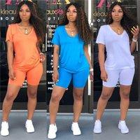 Брюки Летние женские костюмы Sumemr Женщины двухкусочный нарядах Повседневный сплошного цвета с коротким рукавом из двух частей