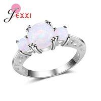Anéis de cluster Exquiste Simples White Opal Stone pavimentada 925 Jóias de prata esterlina para mulheres noivado de casamento Bijoux
