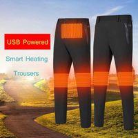 USB Smart Thermal Pants Men's Winter Heating Pants Women's Outdoor Male Skiing Camping Trouser Knee Waist Heat Windproof