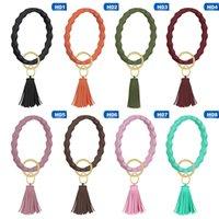 Gel Silica Moda pulseiras com borla pendente portátil Sólidos Redondo Cor Silicone Chaveiro Mulheres na moda acessório para pulso