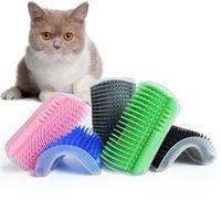 미국 선박 애완 동물 제품 고양이 브러쉬 코너 고양이 마사지 셀프 미용 빗 브러쉬 헤어 트리밍 마사지 장치 애완 동물 청소 용품 흘리기