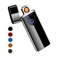 Touch-Screen-Schalter Lighter 7,5mm ultradünne USB aufladbare windundurchlässiges Flameless elektronische Zigarette Feuerzeug Tragbare kreative Feuerzeuge