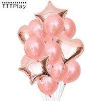 Doğdun Partisi Malzemeleri İçin Yeni Rose Gold Kalp Balon Folyo Champagne Yıldız Balonlar Düğün Dekorasyon Lateks Ballon
