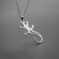 Кулон ожерелья эльфийская ящерица из нержавеющей стали модный Cabrite Gecko хамелеон анола женские украшения