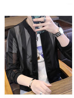 Grid Stripe Panelled Mens Coats Hommes Jacket Fashion Stripe...