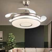 Modern LED Frequency Conversion Invisible Ceiling Fan Lamp Dining Room Luxury Quiet Remote Control Ceiling Light with Fan