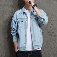 Nuova Primavera Autunno Mens Giacca di jeans Mens Trendy Fashion Bomber Jacket sottile strappato denim del foro Maschio cowboy Jeans e giacche Cappotto