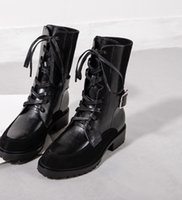 Botas de Martin de cuero genuino Estrellas de moda zapatos de mujer Botas de cinturón de alta calidad Botas de tobillo Botas de tacón bajo Zapatos de marca Botas Cortas