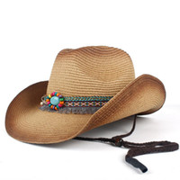 Cappelli da corn wide cappello da cowboy occidentale donna estate paglia bohémien tassel sombrero hombre spiaggia cowgirl jazz da sole taglia 57-59 cm