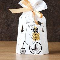 3/6/1 / 9pcs Babbo Natale Borsa da regalo Sacchetto di caramelle Snowflake Criscd Coulisstring Merry Christmas Decorations for Home Capodanno 2021 Navidad Hmwor