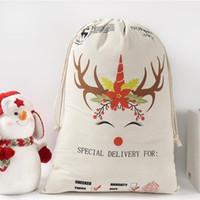 عيد الميلاد سانتا حقيبة أكياس ديكورات القطن الكتلة حقيبة هدية سانتا كيس الرباط أكياس BWD2496 قماش عيد الميلاد كلوز الغزلان سانت ahhg
