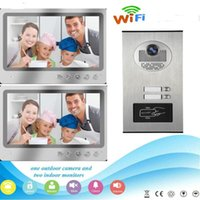 "Video Door Phones SmartYIBA 9""WIFI Building Intercom System APP Control Record Apartment Doorphone 2 Units RFID Camera"
