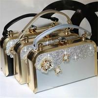 Cristallo borsa di lusso Totes Donne sposa Wedding Shoulder Bag floreale Genuine Leather strass Purse catena borsa da sera del partito